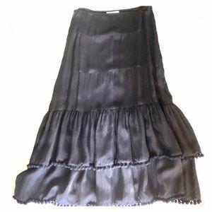 WHBM Black Rayon Maxi Skirt PomPom trim NWT size 4